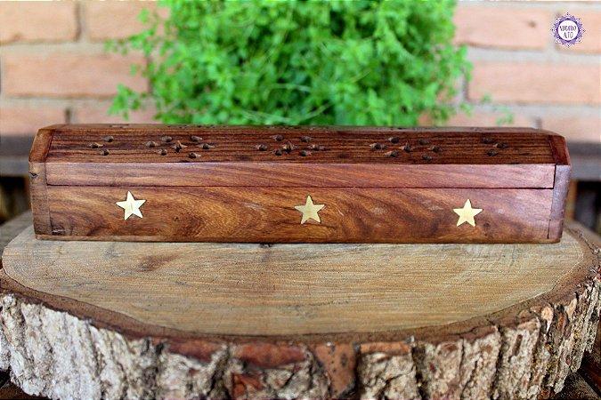 Incensário Indiano de Madeira estilo Baú com Porta Incensos - Estrela Dourada