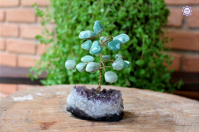 Árvore de Quartzo Verde P com 13cm base Drusa de Ametista 301g   Cristal de Cura e Limpeza Emocional