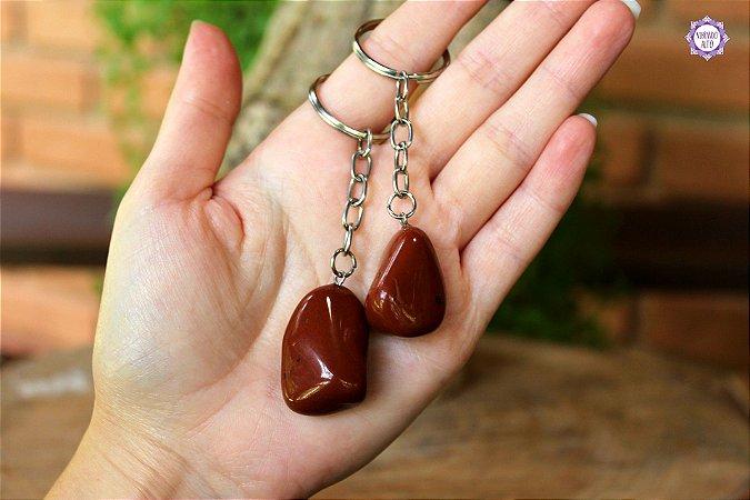 Chaveiro de Jaspe Vermelho   Pedra da Memória e Energia Kundalini