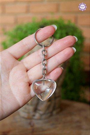 Chaveiro Coração de Quartzo | Cristal de Limpeza, Purificação e Cura