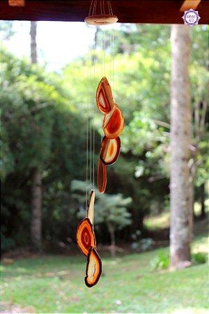 Móbile Mensageiro dos Ventos de Ágata 61cm   Equilíbrio Emocional e das Energias Yin e Yang