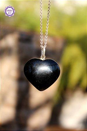 Pingente Coração Ônix Preto (Prata 950) | Pedra da Disciplina e Força Interior