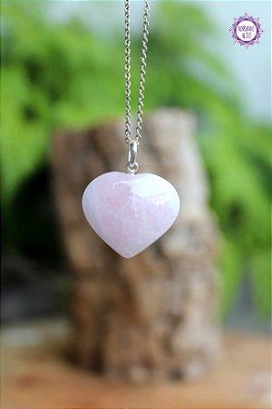 Pingente Coração Quartzo Rosa (Prata 950) | Pedra do Amor e Cura Emocional