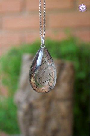 Pingente Gota Quartzo Turmalinado (Prata 950)   Para Purificação Física, Emocional e Espiritual