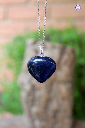 Pingente Coração de Sodalita (Prata 950) | Pedra do Insight e Intuição