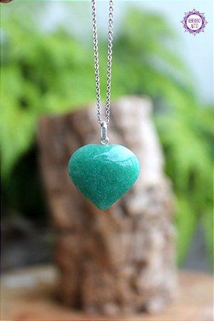 Pingente Coração Quartzo Verde (Prata 950) | Cristal de Cura e Manifestação