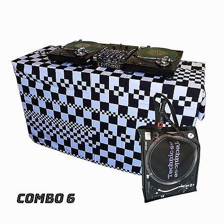COMBO 6 - Capa Multiuso Xadrez P&B + Sacola Technic-se Black