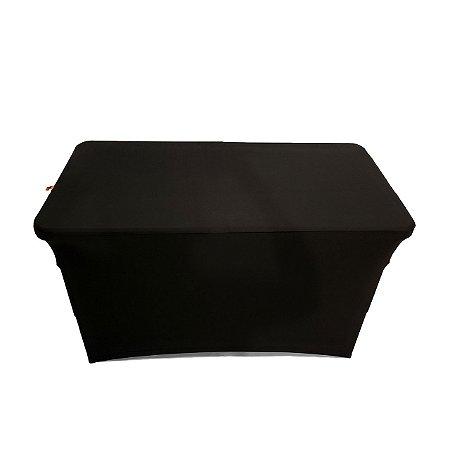 Capa Elastano Preta para mesa dobrável P - 122x61x84e90cm