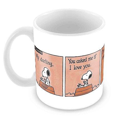 Caneca Branca - Snoopy Tirinha