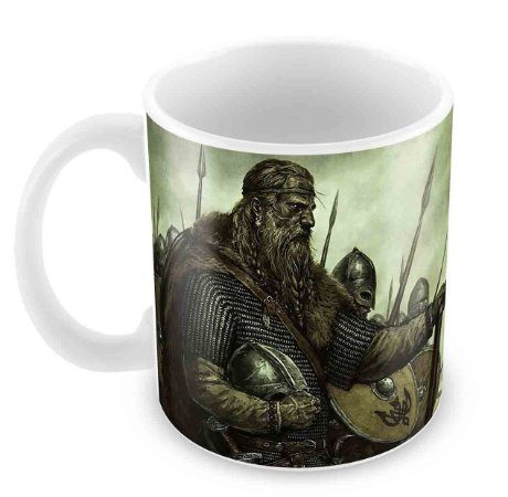 Caneca Branca - Guerreiros Vikings