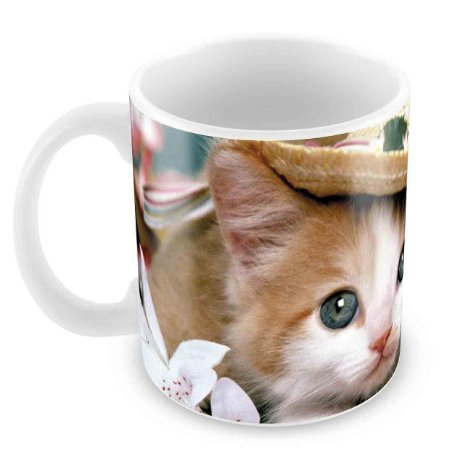 Caneca Branca - Gato de chapéu