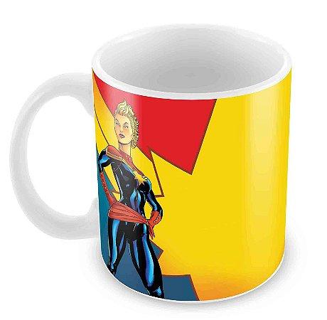 Caneca Branca - Capitã Marvel - Cartoon
