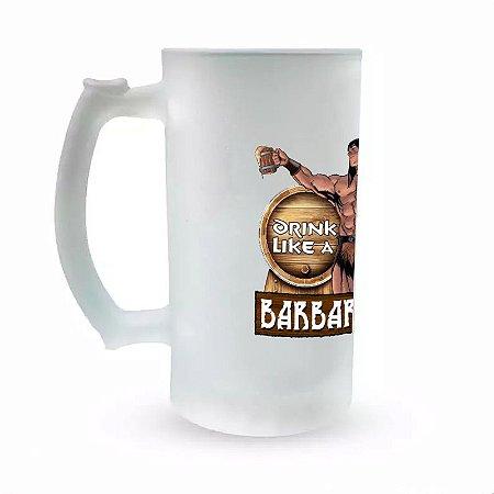 Caneca de Chopp Vidro Jateado - Especial Fórum Conan - Drink Like a Barbarian II