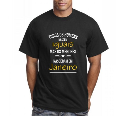 Camiseta Preta com Frase Todos os Homens Nascem Iguais Mas