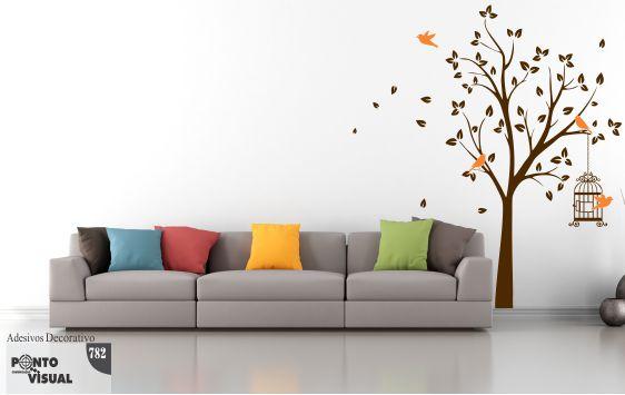 Adesivo Decorativo  - Árvore, Pássaros e Gaiola
