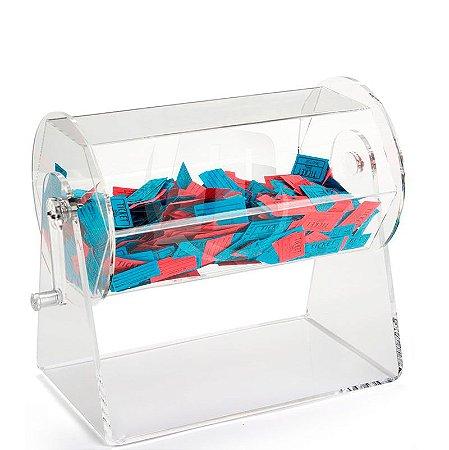 Urna de acrilico giratoria A 32cm L 30 cm x P 23 Ø  c/ cadeado