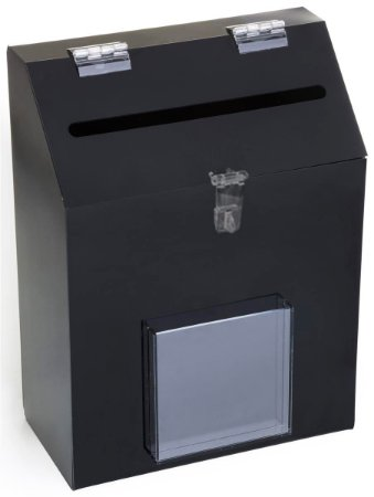 Urna de sugestão Preta p/ parede 30 X 14 X 20 cm c/ bolsa