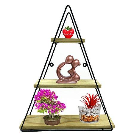 Nicho Prateleira De Ferro Piramide 50x42x10cm Grátis 2 vasos de acrilico