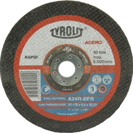 "DISCO DE DESBASTE 7""X6.4mm A24 RBFR Tyrolit"