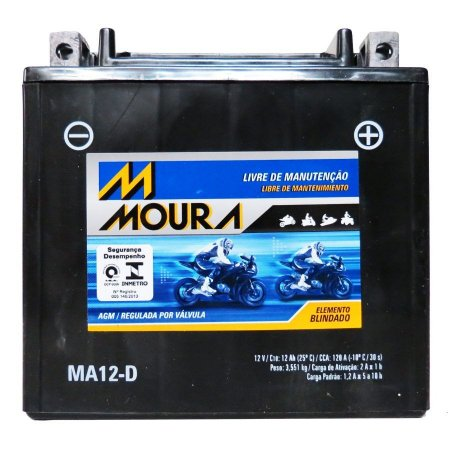 Bateria Harley Sportster 883 1200 Xl Xlh Moura Ma12-d