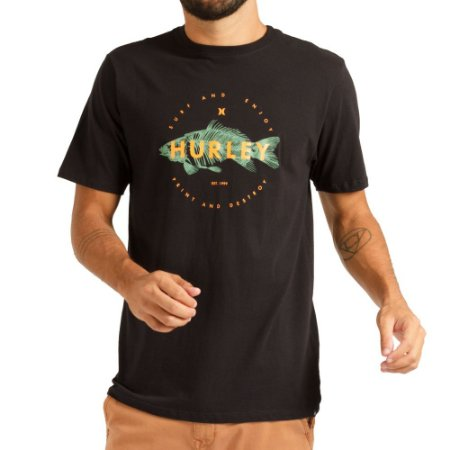 Camiseta Hurley Silk Fish Masculina Preto