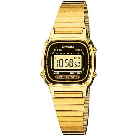 Relógio Casio Vintage LA670WGA-1DF Preto/Dourado