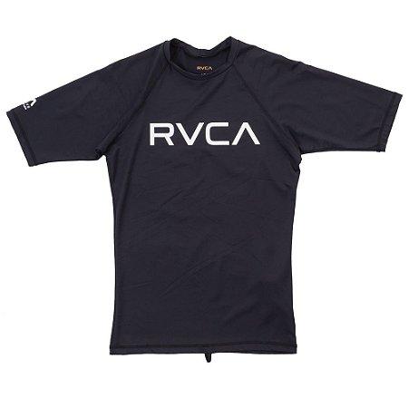 Lycra Rashguard RVCA Manga Curta Solid SS Preta