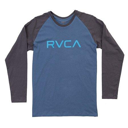 Camiseta RVCA Manga Longa Big RVCA Azul/Cinza