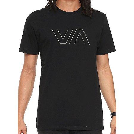 Camiseta RVCA VA Outline Preta