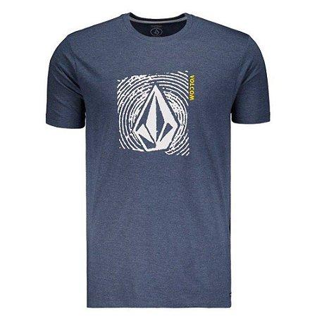 Camiseta Volcom Silk Stonar Waves Azul Marinho