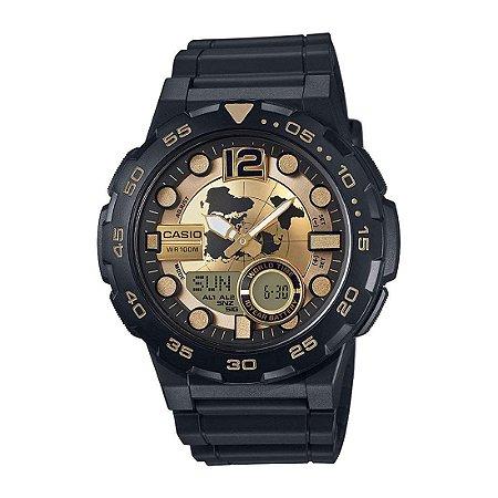 73f2e30d082 Relógio Casio Standard AEQ-100BW-9AVDF Preto Dourado - Radical Place ...