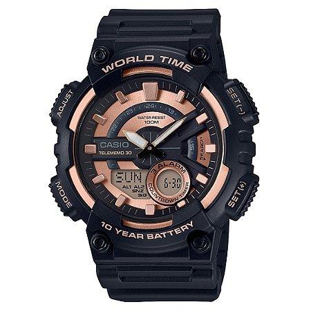 Relógio Casio Standard AEQ-110W-1A3VDF Preto/Rosa