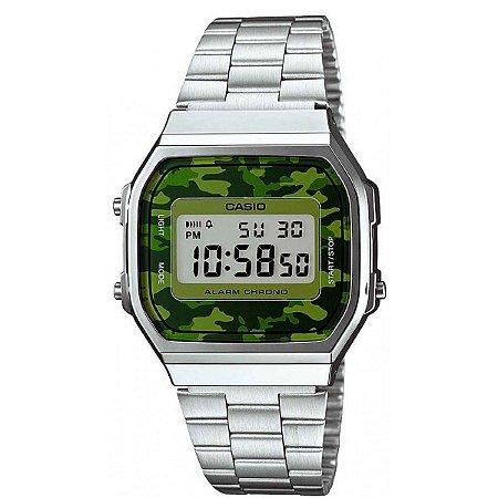 Relógio Casio Vintage A168WEC-3DF Prata/Camuflado