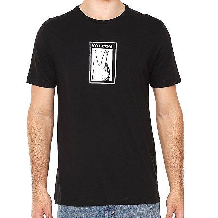 Camiseta Volcom Silk Slim Peace Preta