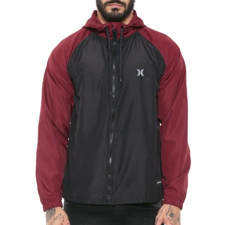 Jaqueta Hurley Windbreaker Speed Preto/Vinho