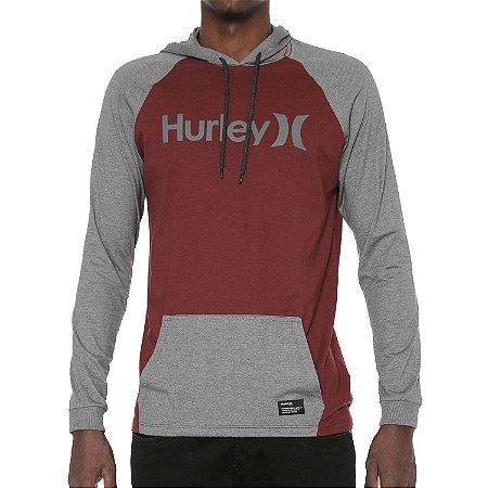 Camiseta Hurley Manga Longa Especial One&Only Vinho/Cinza