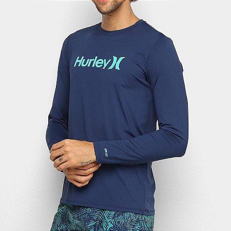 Lycra Camiseta Surf Hurley Manga Longa Type Azul Marinho