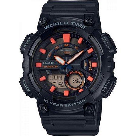 Relógio Casio Standard AEQ-110W-1A2VDF Preto/Laranja