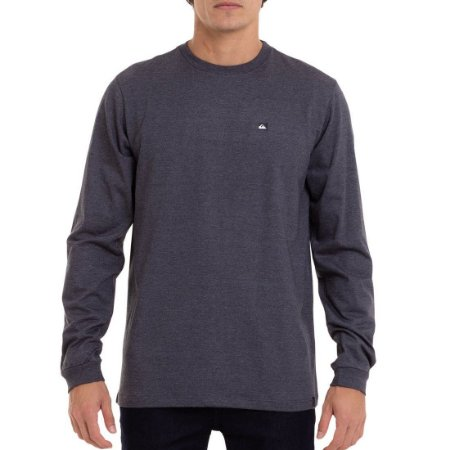 Camiseta Quiksilver Manga Longa Transfer Cinza Escuro
