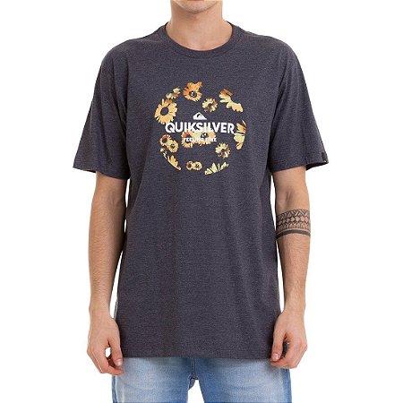 Camiseta Quiksilver Summers Ends Cinza Escuro Mescla