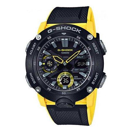 Relógio G-Shock Carbon Core Guard GA-2000-1A9DR Masculino Preto/Amarelo