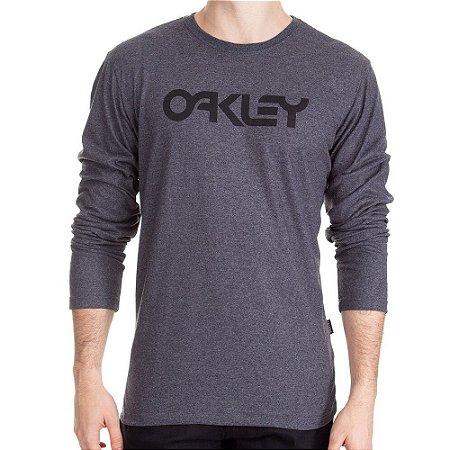 Camiseta Oakley Mark II Manga Longa Masculina Cinza Escuro