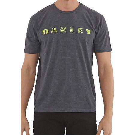 Camiseta Oakley Bark Pattern SS Masculina Cinza Escuro