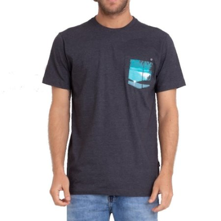 Camiseta Billabong Team Pocket Mini II Masculina Cinza Escuro