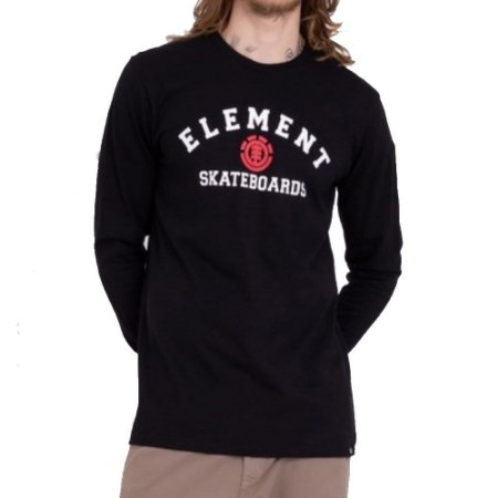 Camiseta Element Manga Longa For Life Masculina Preto
