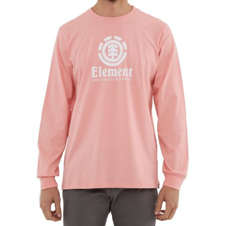 Camiseta Element Manga Longa Vertical Masculina Salmão