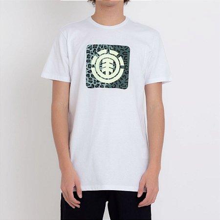 Camiseta Element Leopard Block Icon Masculina Branco