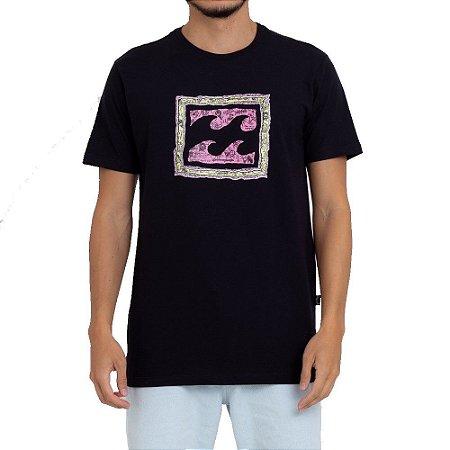 Camiseta Billabong Crayon Wave Masculina Preto
