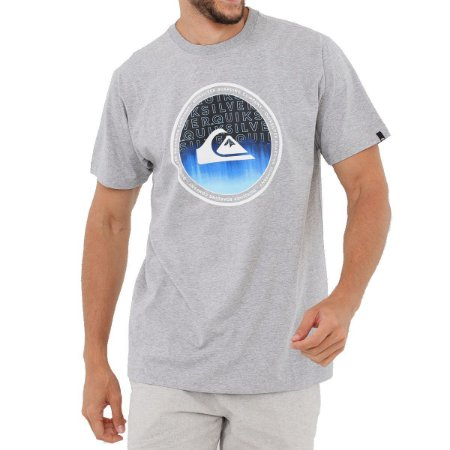 Camiseta Quiksilver World Surge Masculina Cinza Claro