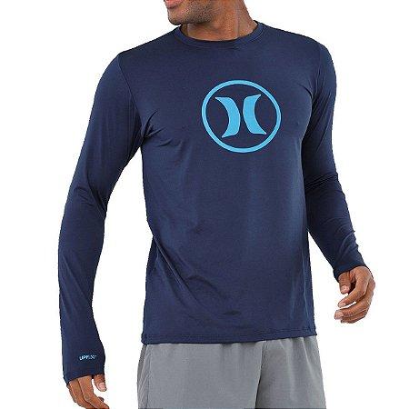 Camiseta Lycra Surf Hurley Manga Longa Circle Icon Azul Marinho